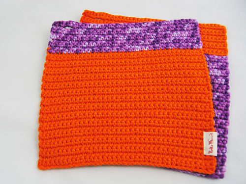 Topflappen Invers violett meliert orange