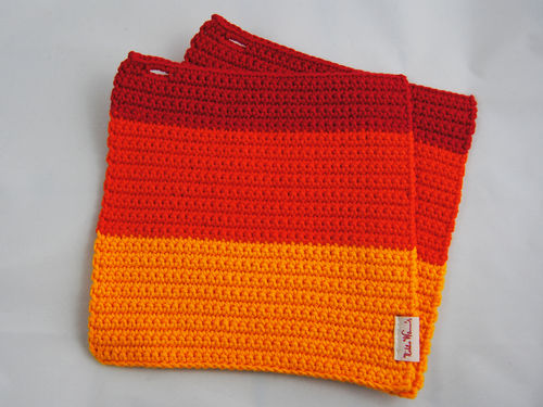 Topflappen Zwillinge Colourblocking goldgelb orange rot
