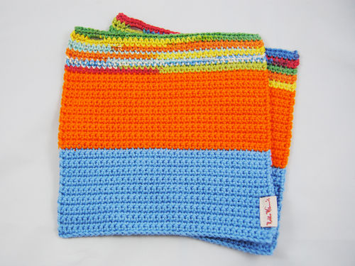 Topflappen Zwillinge Colourblocking hellblau orange multi